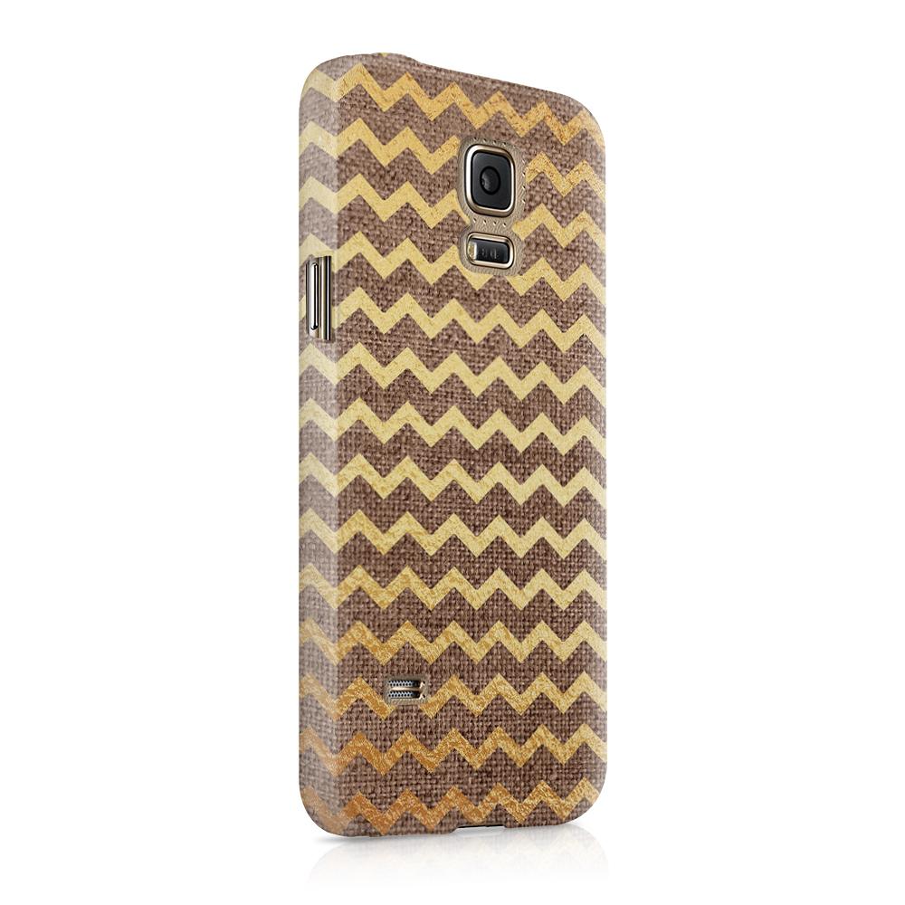 Skal till Samsung Galaxy S5 - Canvas Ränder - Guld/Brun