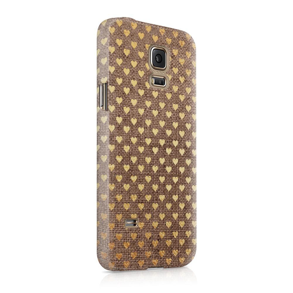 Skal till Samsung Galaxy S5 - Canvas Hjärtan - Guld/Brun