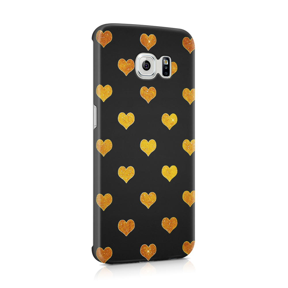 Mobilskal | Galaxy S6 | Hjärtan - Guld/Svart