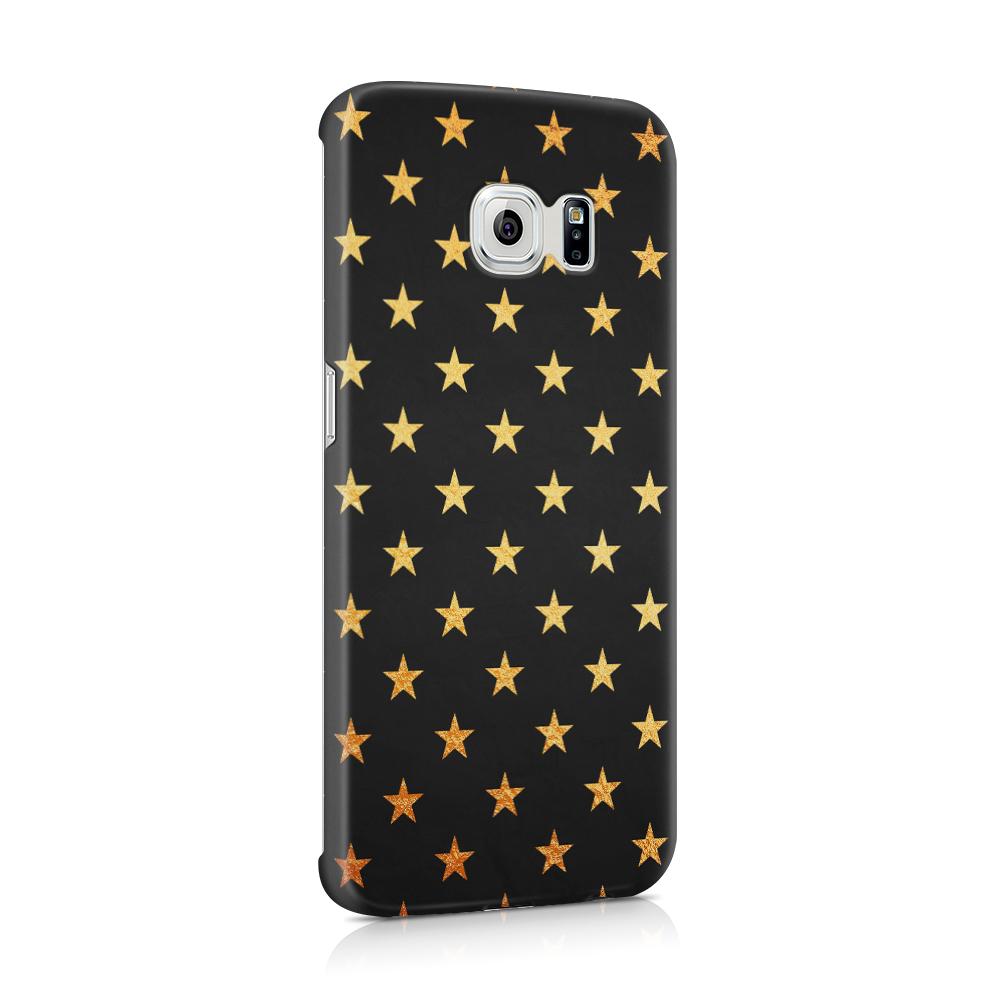 Skal till Samsung Galaxy S6 Edge - Stjärnor - Guld/Svart