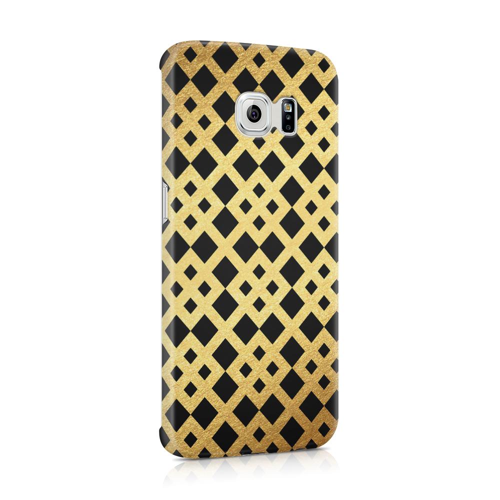 Skal till Samsung Galaxy S6 Edge - Rutmönster - Guld/Svart
