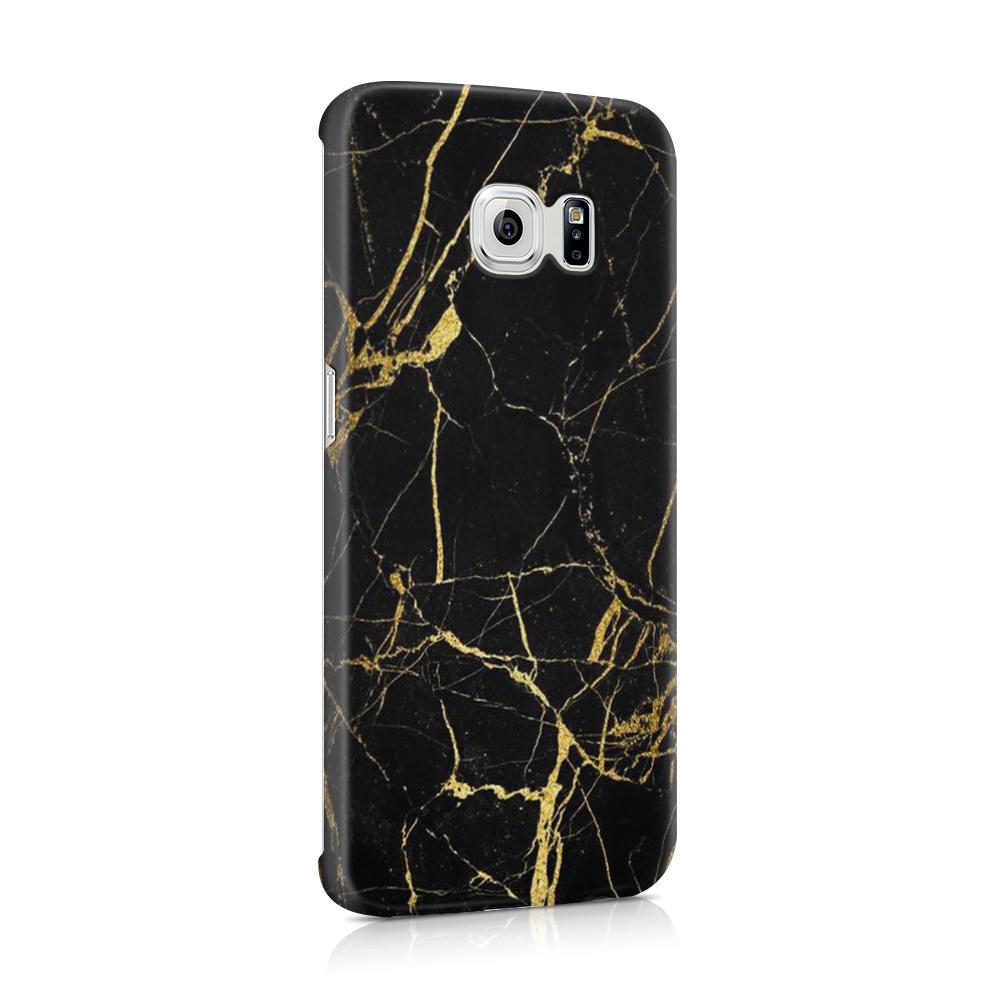 Skal till Samsung Galaxy S6 Edge - Marble - Svart