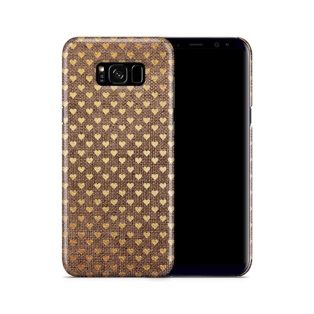 Skal till Samsung Galaxy S8 Plus - Canvas Hjärtan - Guld/Brun