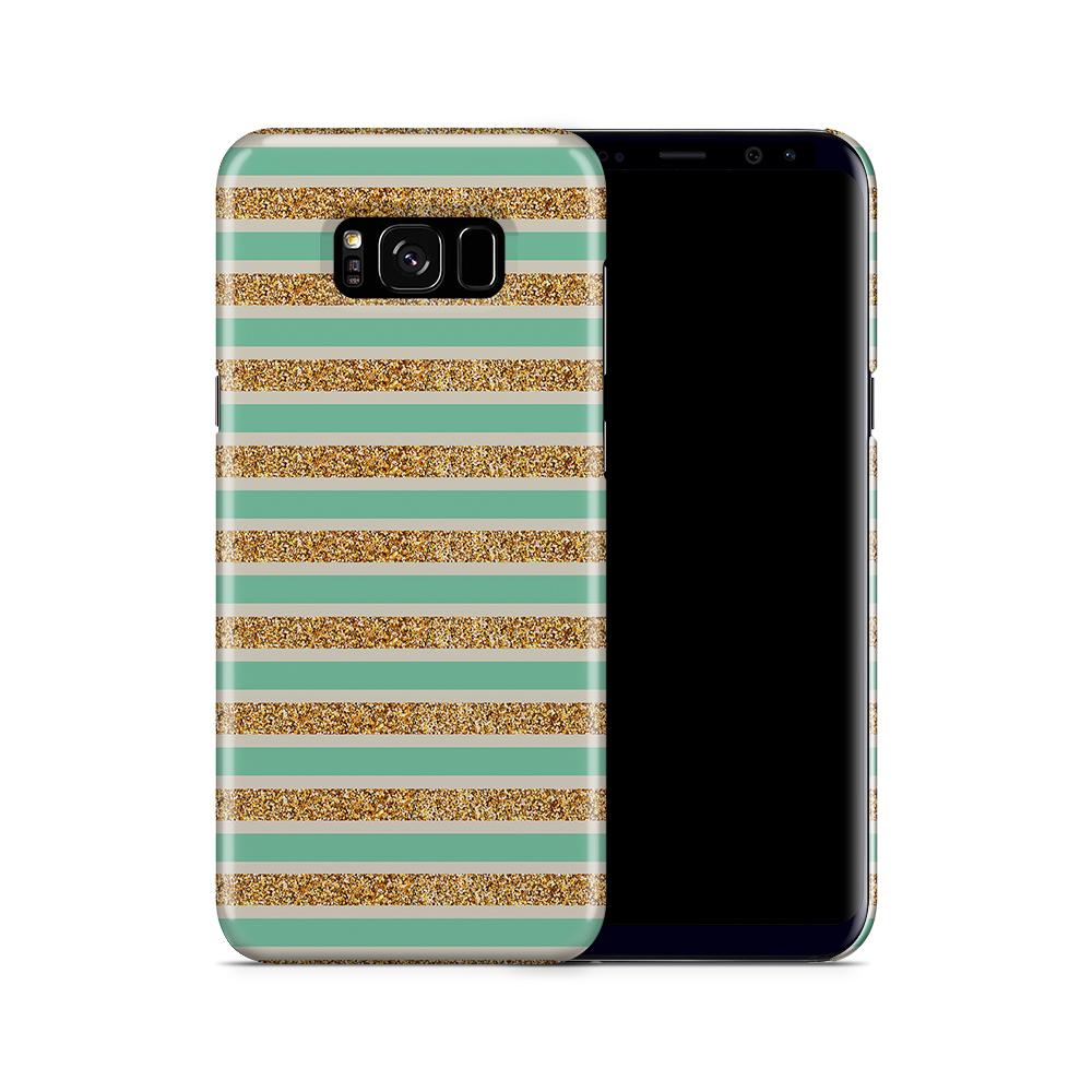 Skal till Samsung Galaxy S8 Plus - Ränder - Guld/Grön
