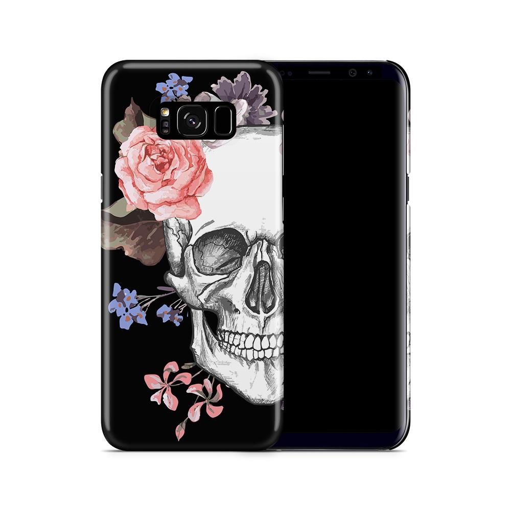 Skal till Samsung Galaxy S8 Plus - Blommig dödskalle - Svart