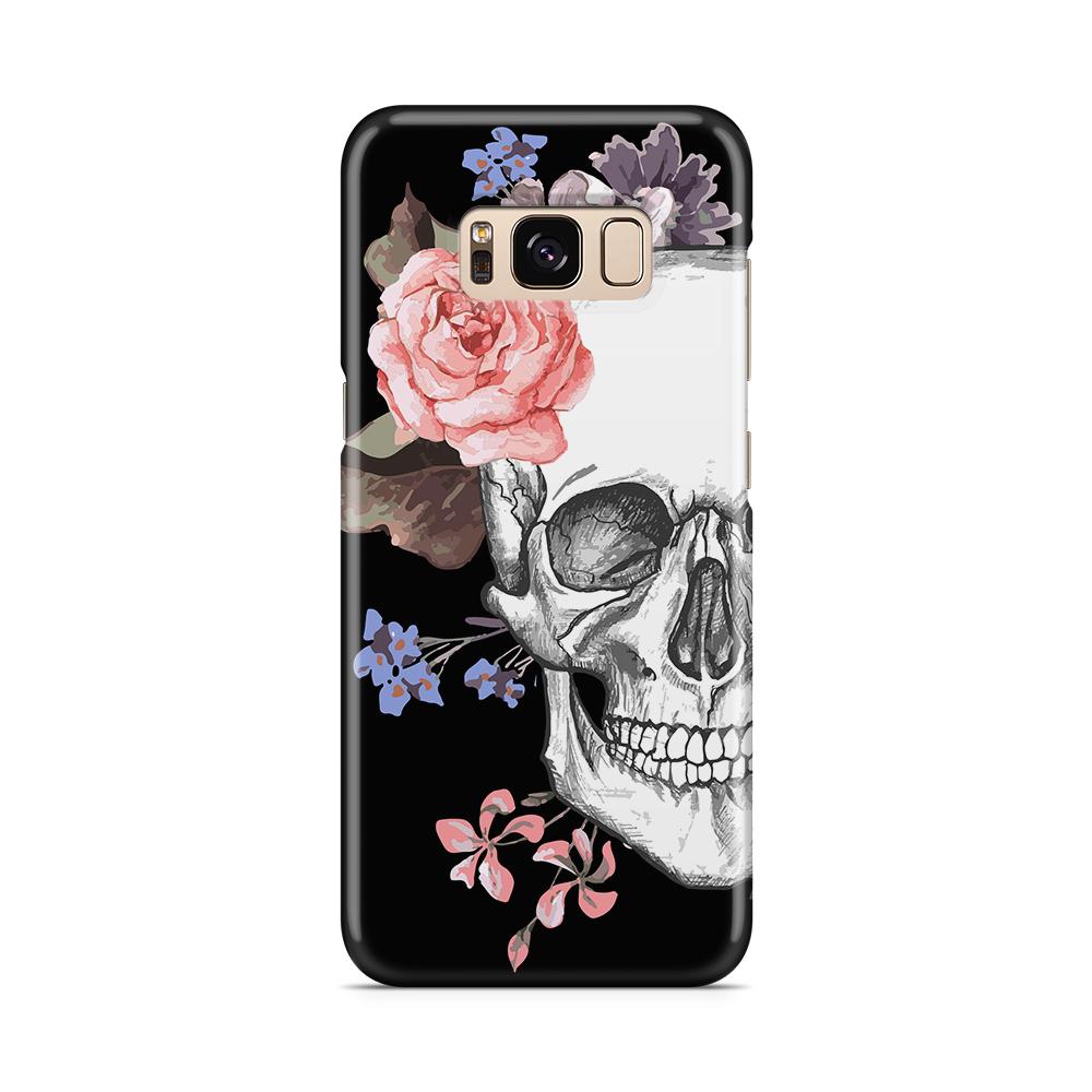 Skal till Samsung Galaxy S8 - Blommig dödskalle - Svart