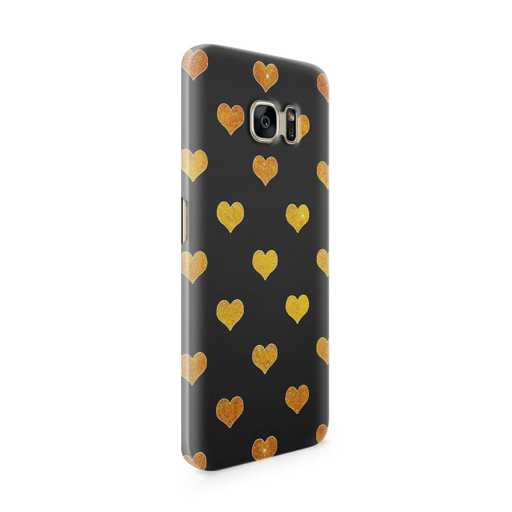 Skal till Samsung Galaxy S7 Edge - Hjärtan - Guld/Svart