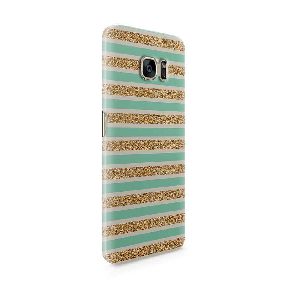 Skal till Samsung Galaxy S7 Edge - Ränder - Guld/Grön