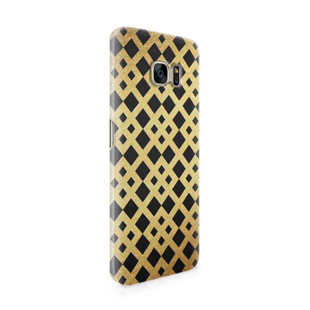 Skal till Samsung Galaxy S7 Edge - Rutmönster - Guld/Svart