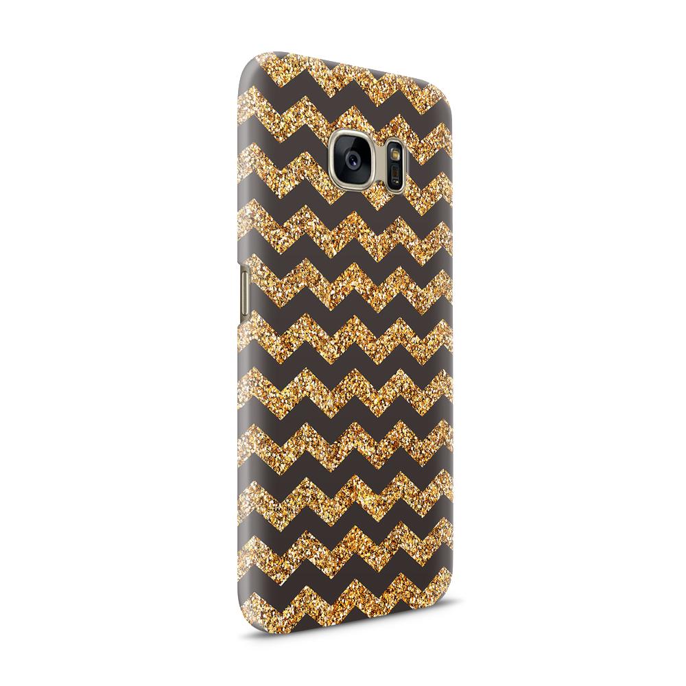 Skal till Samsung Galaxy S7 - Ränder - Guld/Svart