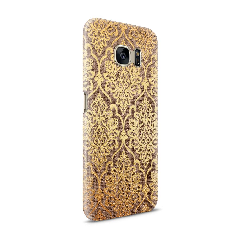 Skal till Samsung Galaxy S7 - Canvas Damask - Guld/Brun
