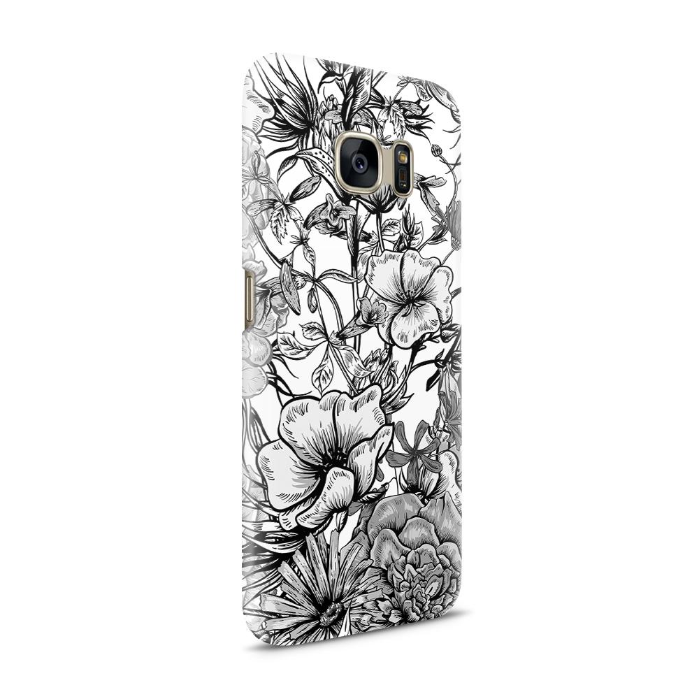 Skal till Samsung Galaxy S7 - Blommor - Svart/Vit