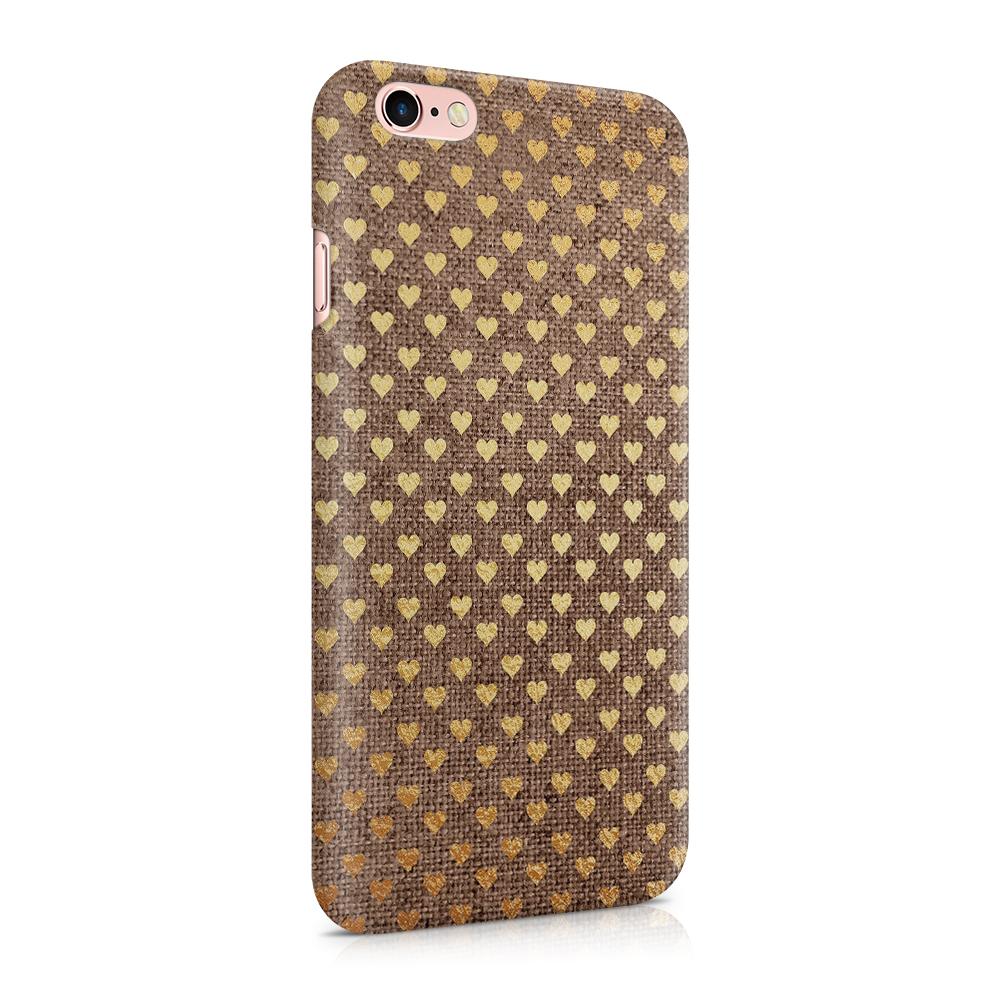 Skal till Apple iPhone 6(S) - Canvas Hjärtan - Guld/Brun