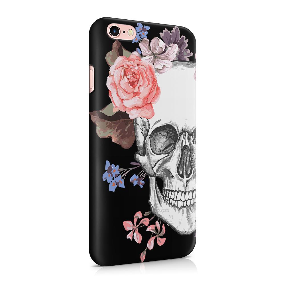 Skal till Apple iPhone 6(S) Plus - Blommig dödskalle - Svart