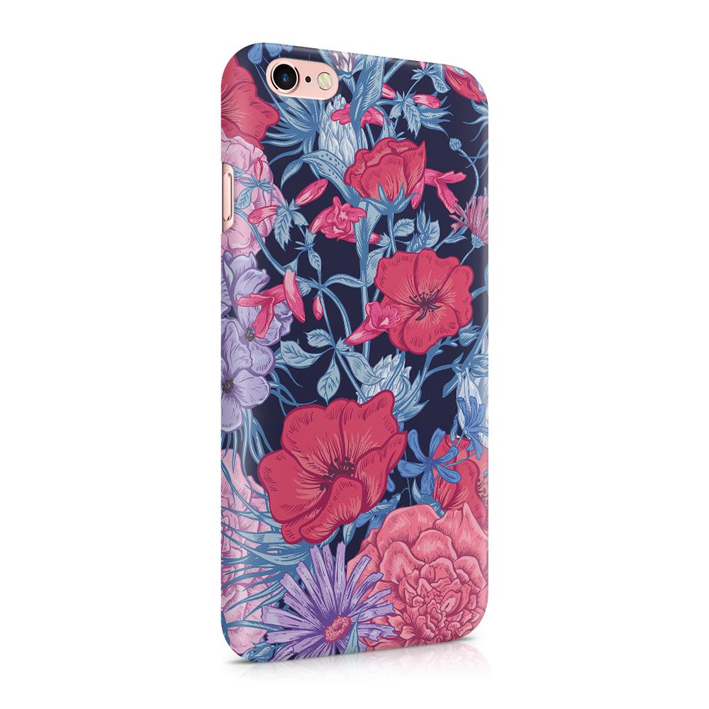 Skal till Apple iPhone 6(S) - Blommor - Svart