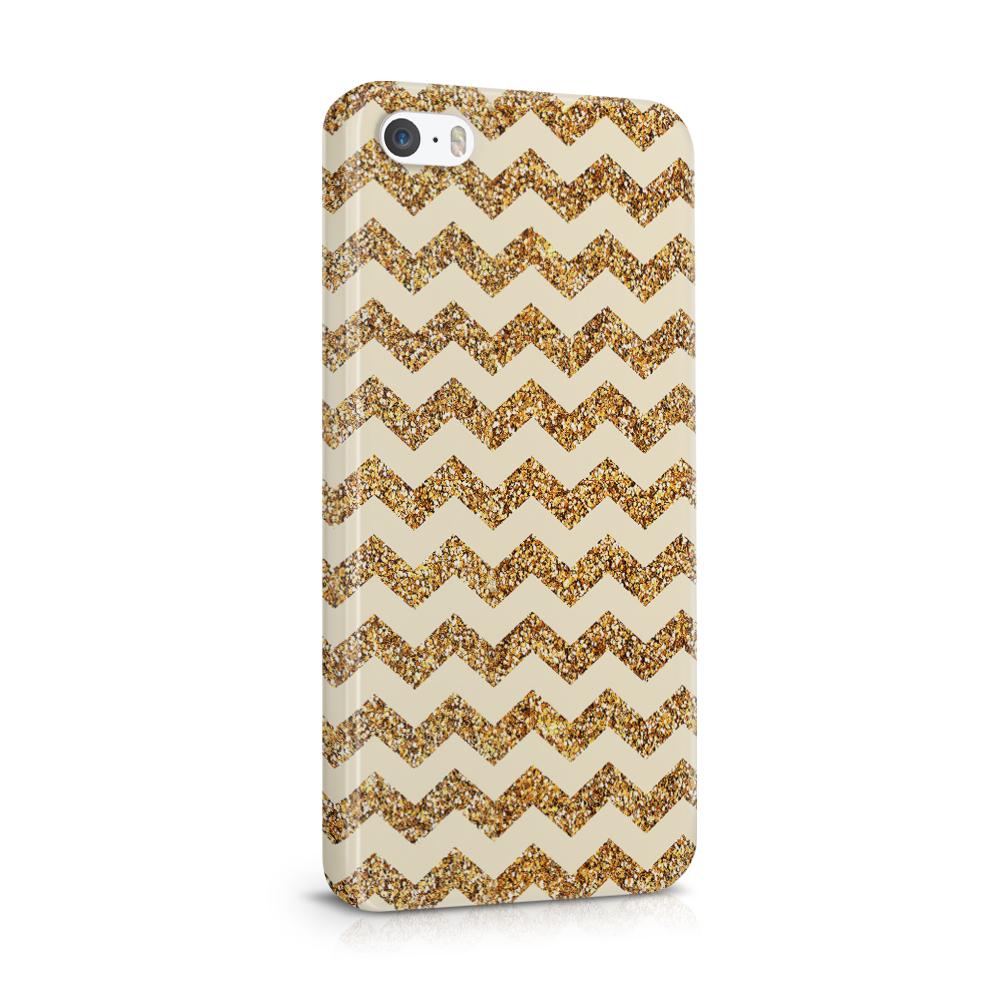 Skal till Apple iPhone SE/5S/5 - Ränder - Guld/Beige