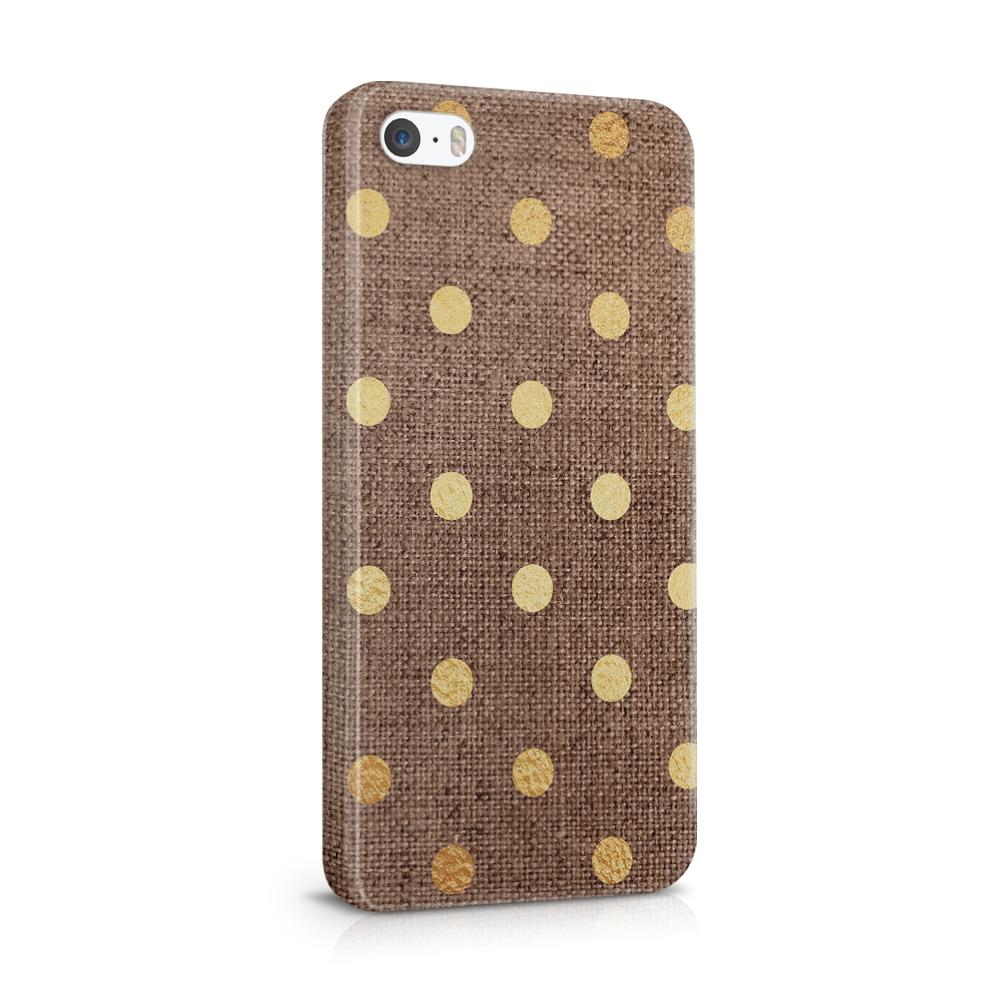Mobilskal | iPhone 5/5s/se | Canvas Polka - Guld/Brun
