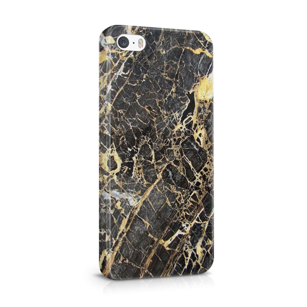 Skal till Apple iPhone SE/5S/5 - Marble - Svart/Gul
