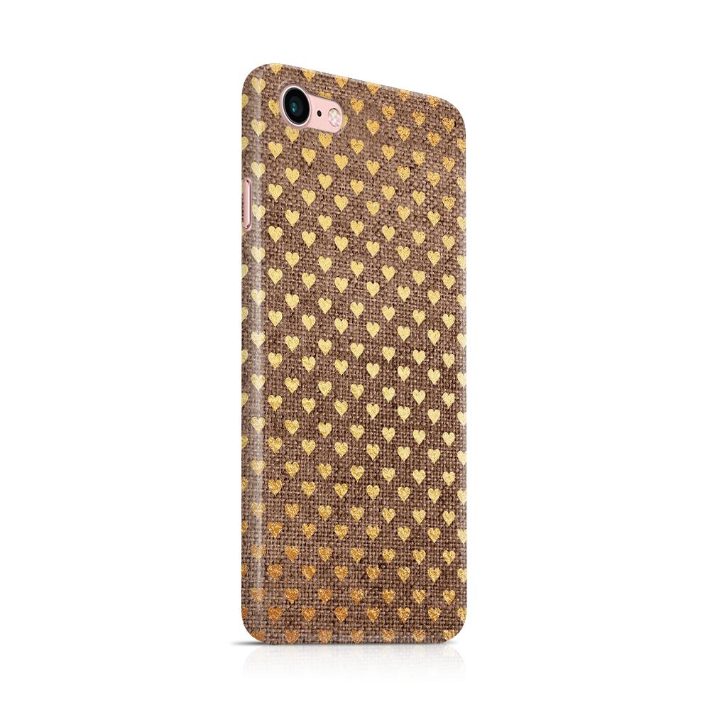 Skal till Apple iPhone 7/8 - Canvas Hjärtan - Guld/Brun