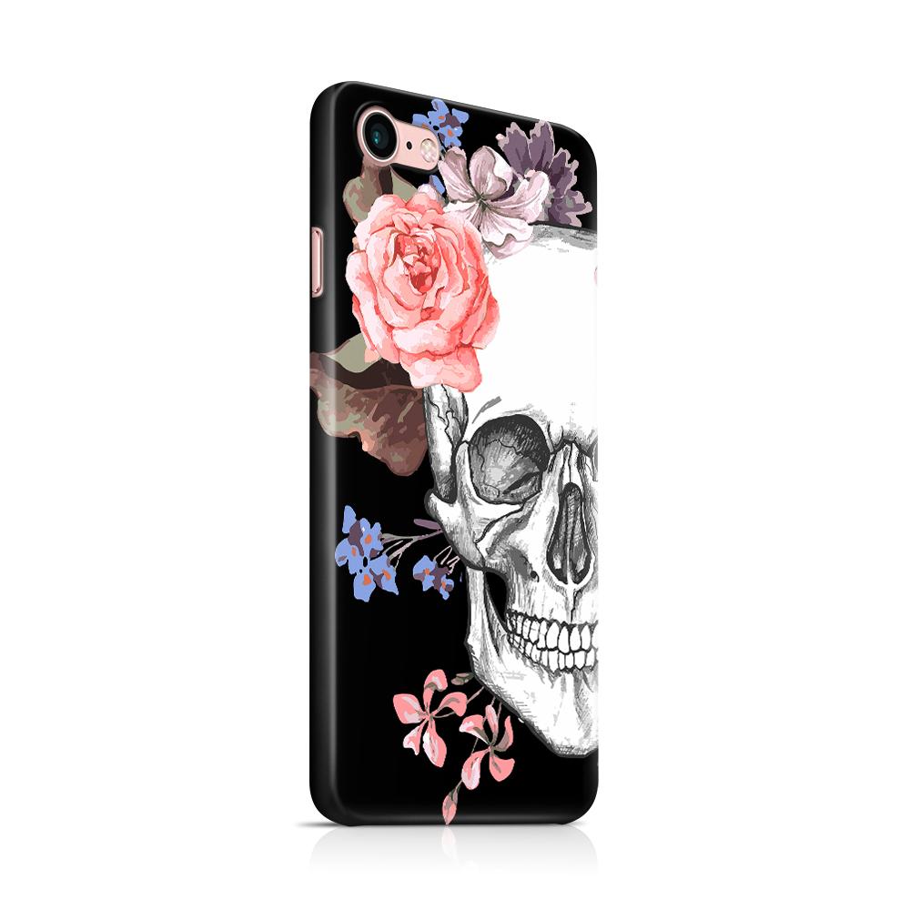 Skal till Apple iPhone 7/8 - Blommig dödskalle - Svart