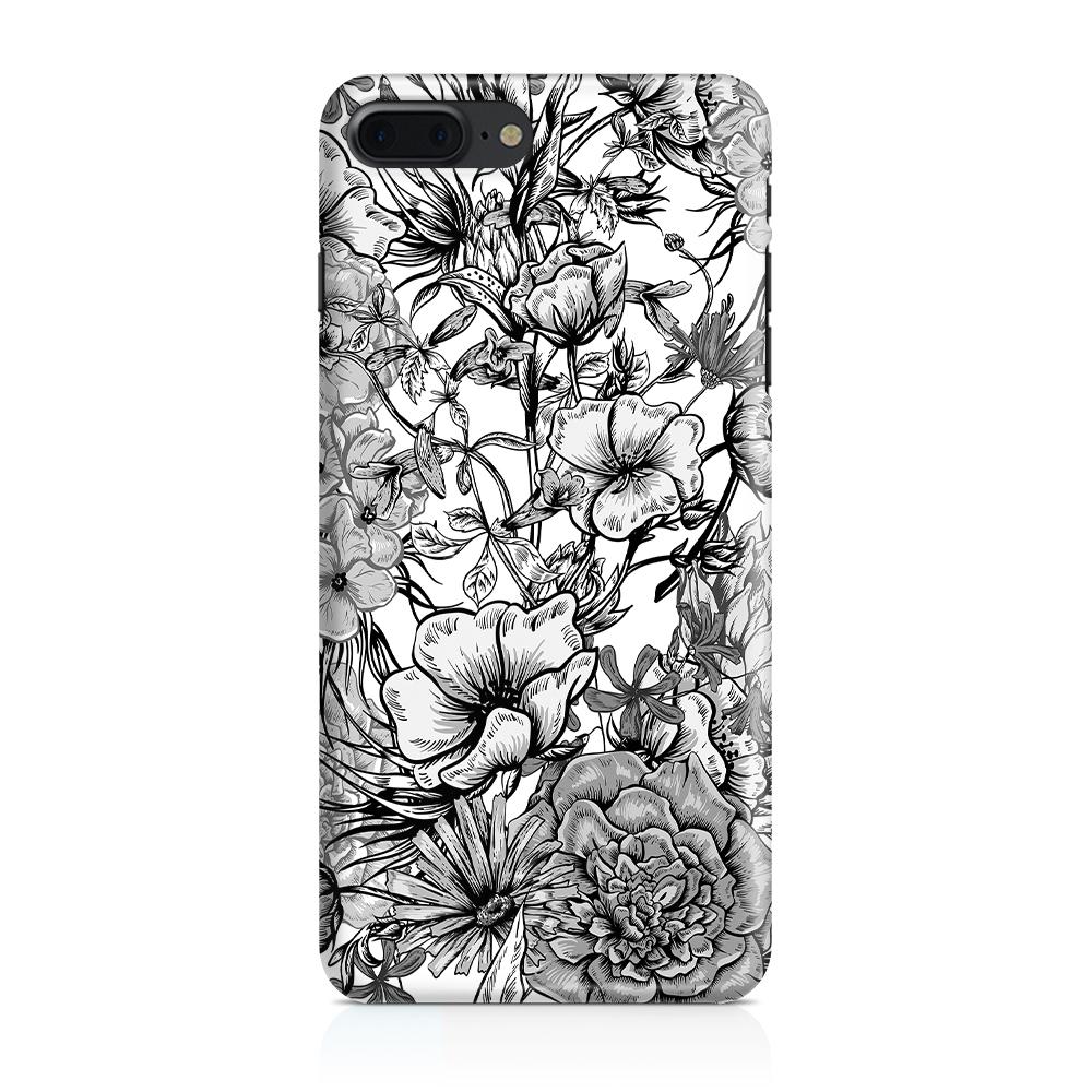 Mobilskal   iPhone 7/8+   Blommor - Svart/Vit