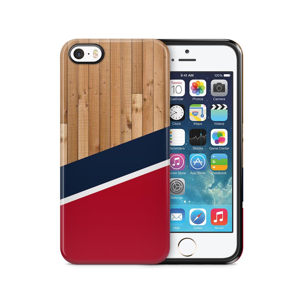Tough mobilSkal till Apple iPhone SE/5S/5 - Wood ränder - Röd