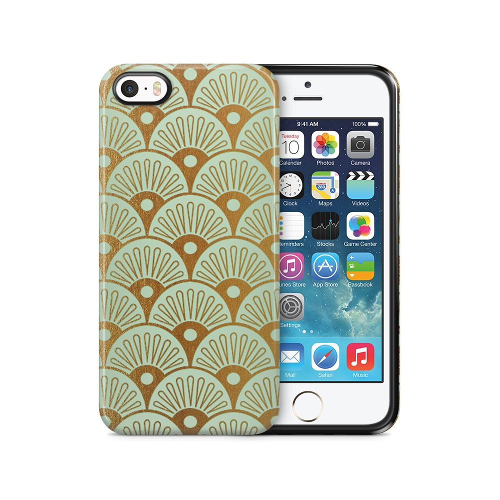 Tough mobilSkal till Apple iPhone SE/5S/5 - Bågar - Guld/Mint