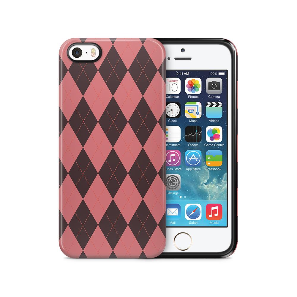 Tough mobilSkal till Apple iPhone SE/5S/5 - Rutig - Rosa/Svart