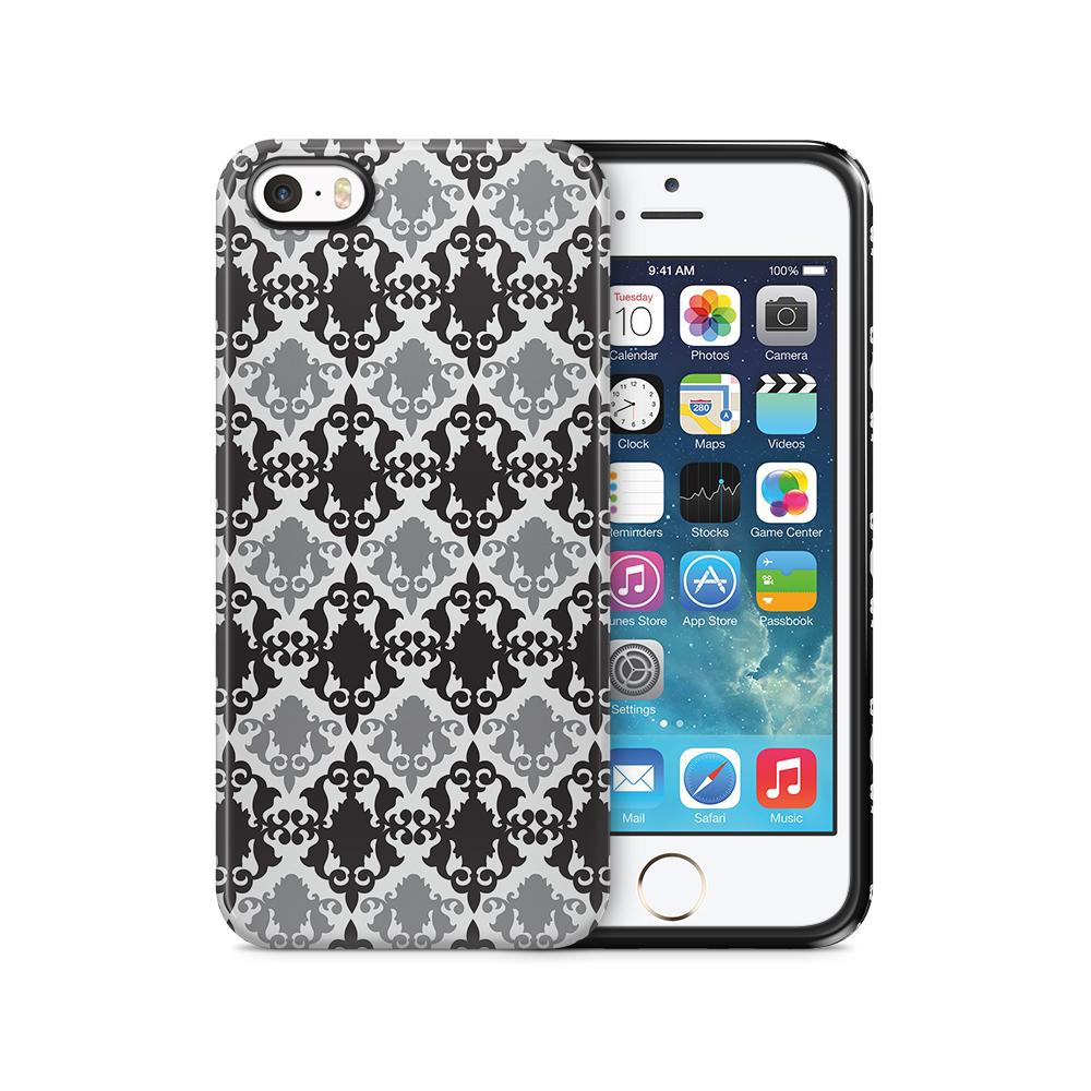 Tough mobilSkal till Apple iPhone SE/5S/5 - Damask - Svart/Grå