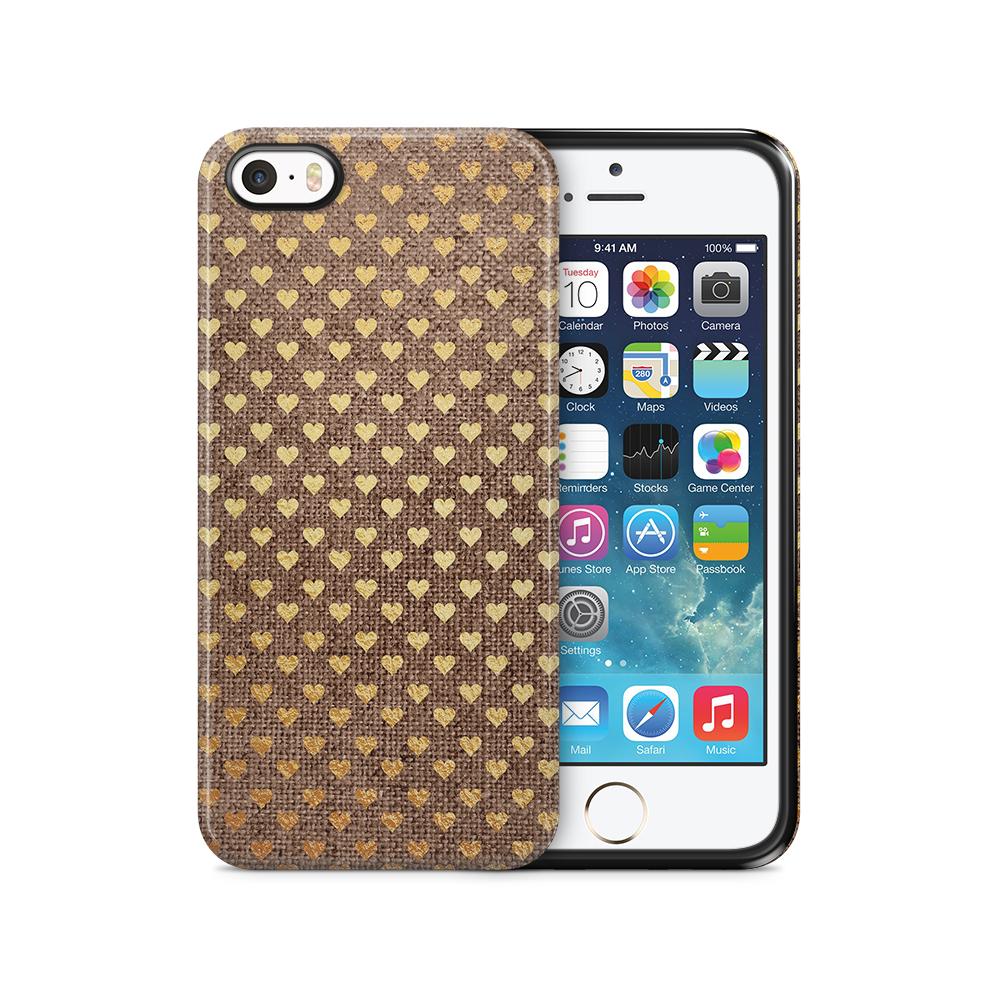 Tough mobilSkal till Apple iPhone SE/5S/5 - Canvas Hjärtan - Guld/Brun
