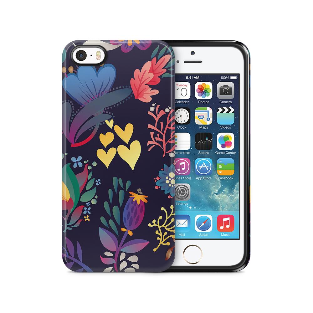 Tough mobilSkal till Apple iPhone SE/5S/5 - Retro blommor