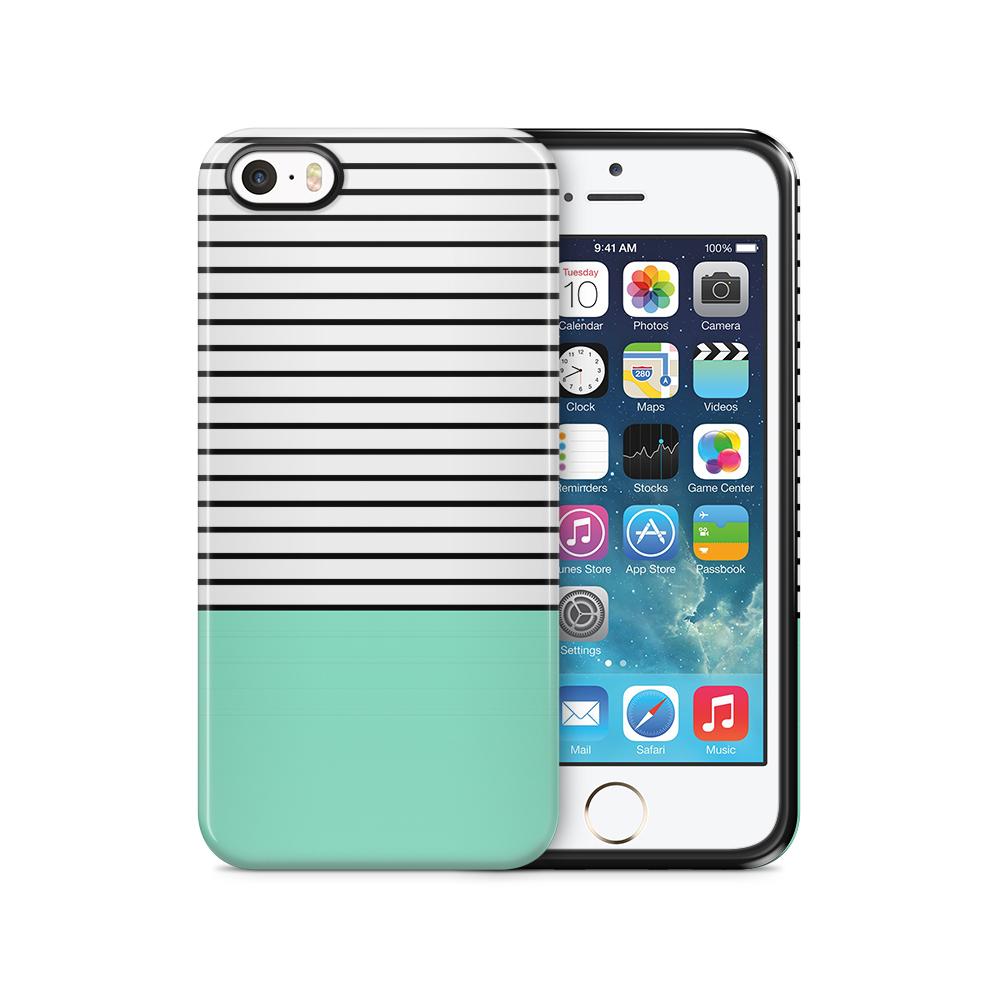 Tough mobilSkal till Apple iPhone SE/5S/5 - Ränder - Mint/Svart