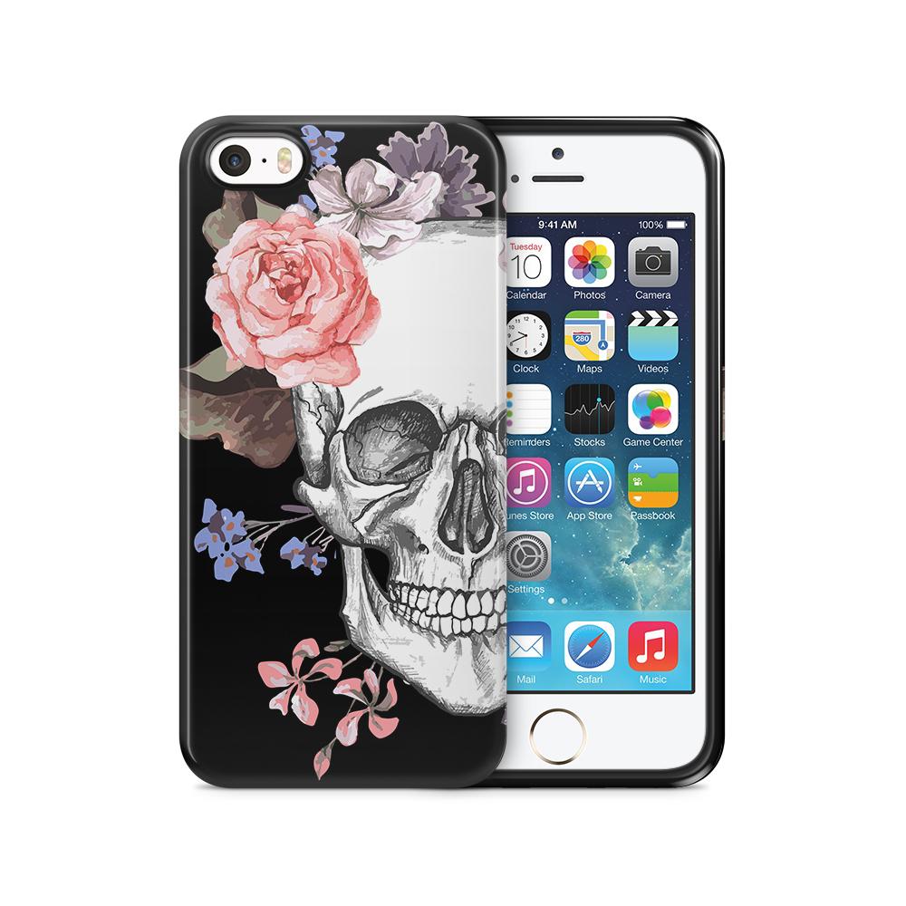 Tough mobilSkal till Apple iPhone SE/5S/5 - Blommig dödskalle - Svart