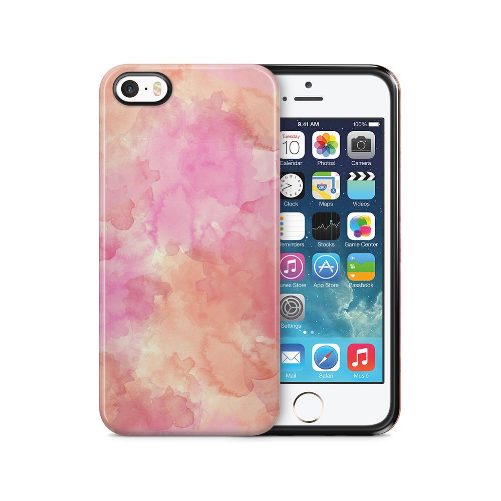 Tough mobilSkal till Apple iPhone SE/5S/5 - Vattenfärg - Rosa