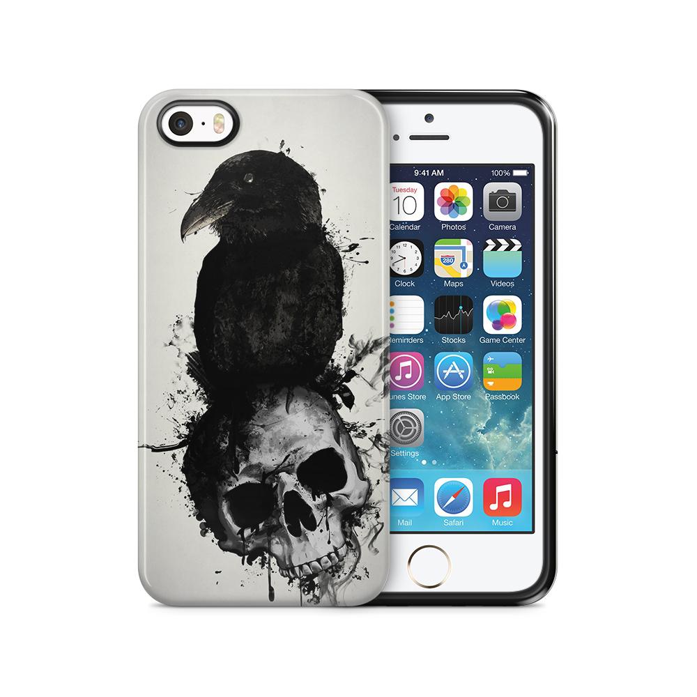 Tough mobilSkal till Apple iPhone SE/5S/5 - Raven and Skull