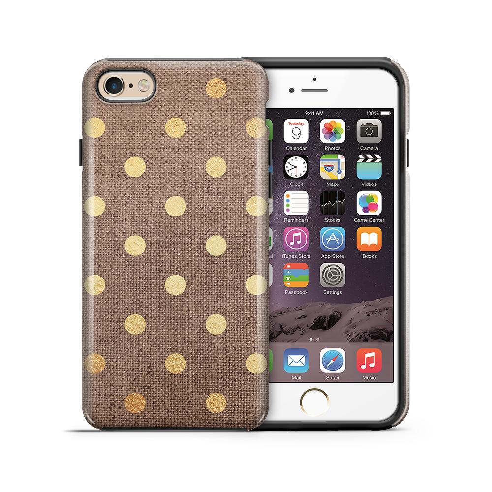Tough mobilskal till Apple iPhone 6(S) Plus - Canvas Polka - Guld/Brun