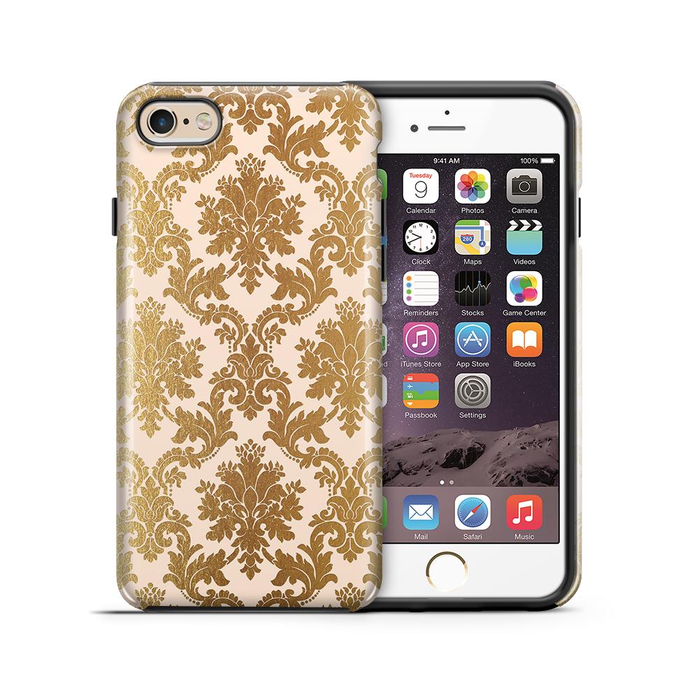 Tough mobilskal till Apple iPhone 6(S) Plus - Damask - Guld/Persika