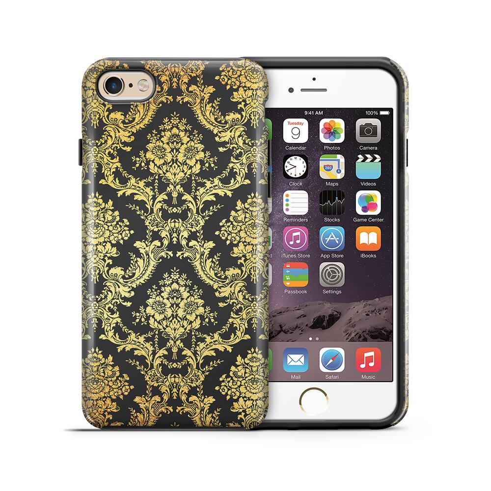 Tough mobilskal till Apple iPhone 6(S) Plus - Damask - Guld/Svart