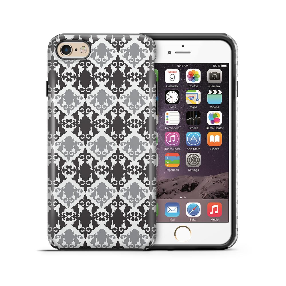 Tough mobilskal till Apple iPhone 6(S) Plus - Damask - Svart/Grå