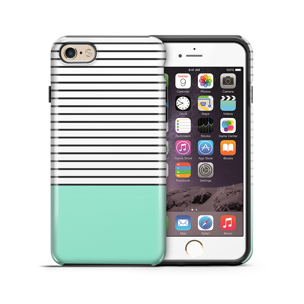 Tough mobilskal till Apple iPhone 6(S) Plus - Ränder - Mint/Svart