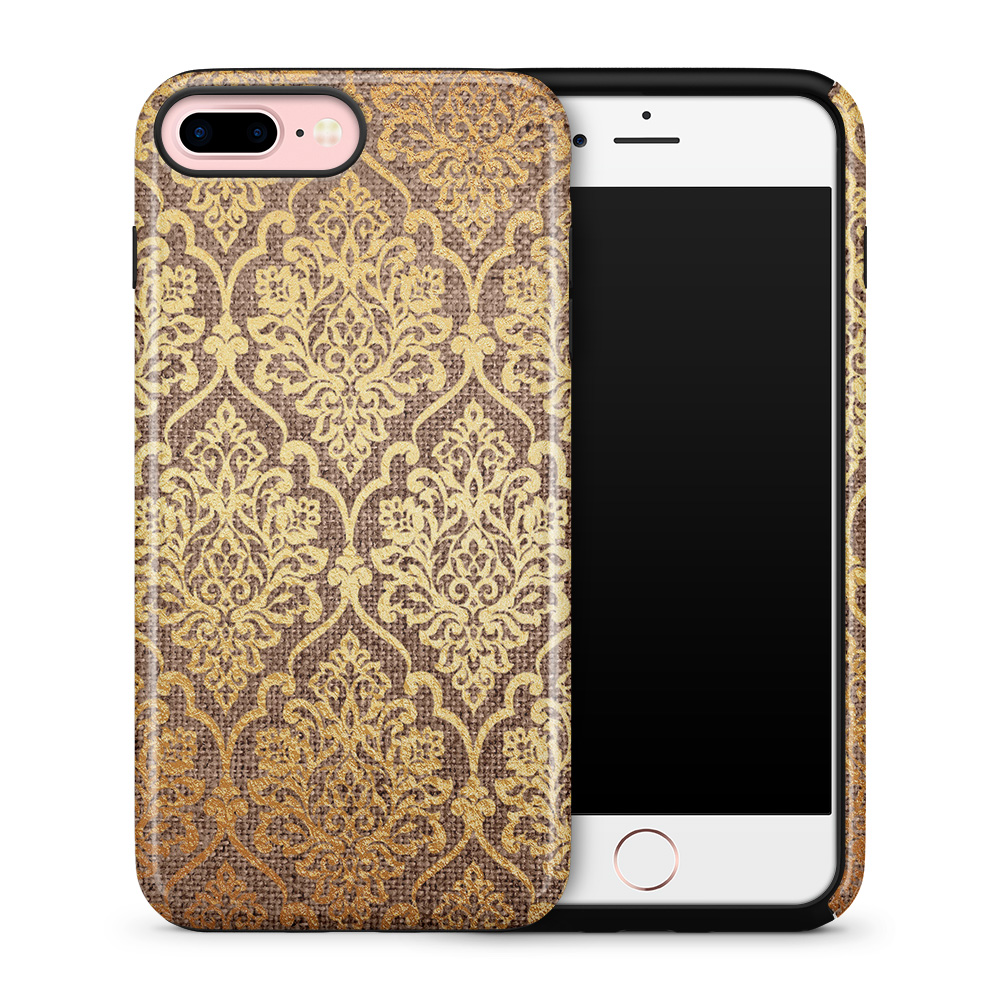 Tough mobilskal till Apple iPhone 7/8 Plus - Canvas Damask - Guld/Brun
