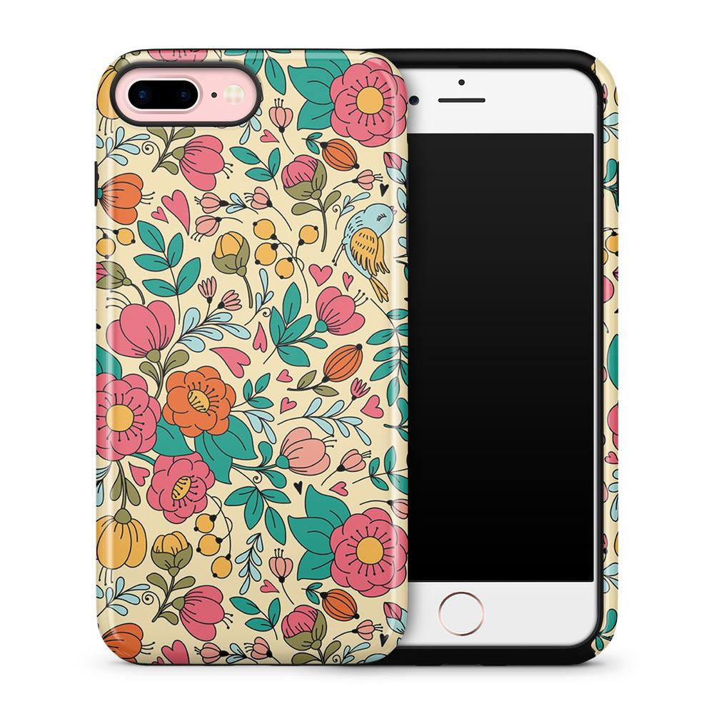 Tough mobilskal till Apple iPhone 7 Plus - Retro Blommor - Beige