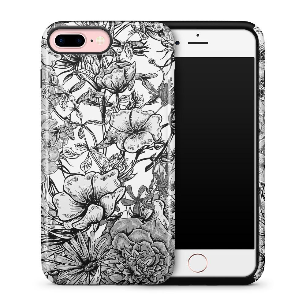 Tough mobilskal till Apple iPhone 7 Plus - Blommor - Svart/Vit