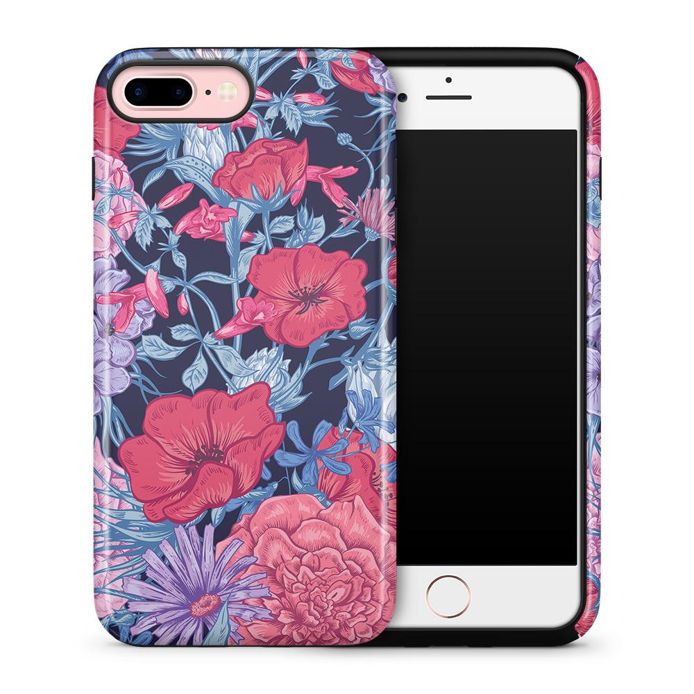 Tough mobilskal till Apple iPhone 7 Plus - Blommor - Svart