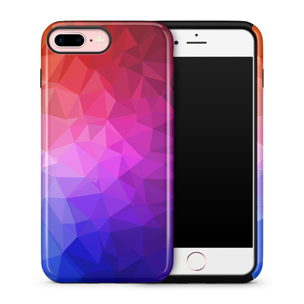 Tough mobilskal till Apple iPhone 7 Plus - Polygon - Blå/Lila/Röd