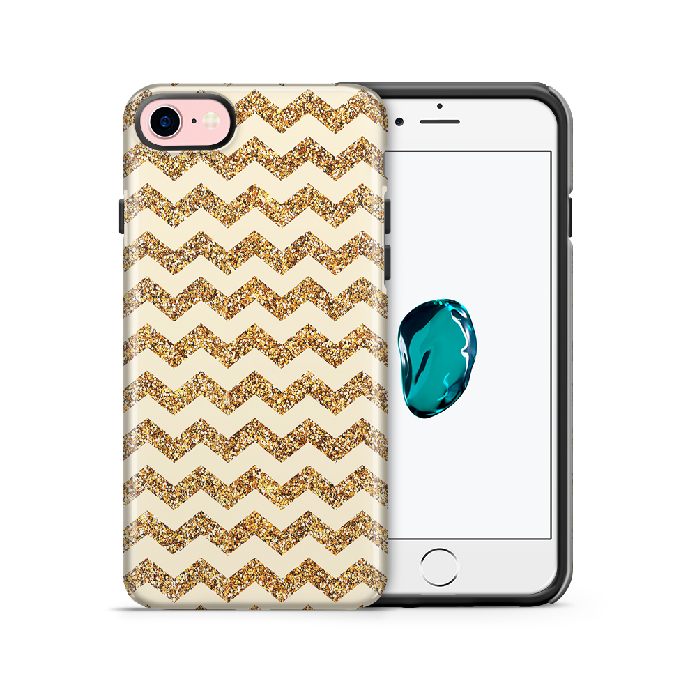 Tough mobilskal till Apple iPhone 7/8 - Ränder - Guld/Beige
