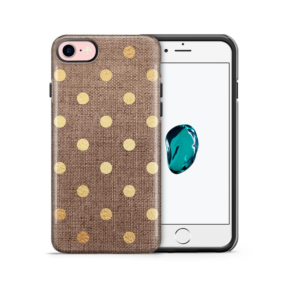 Tough mobilskal till Apple iPhone 7/8 - Canvas Polka - Guld/Brun