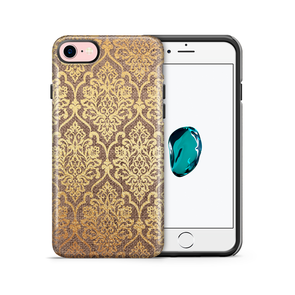 Tough mobilskal till Apple iPhone 7/8 - Canvas Damask - Guld/Brun