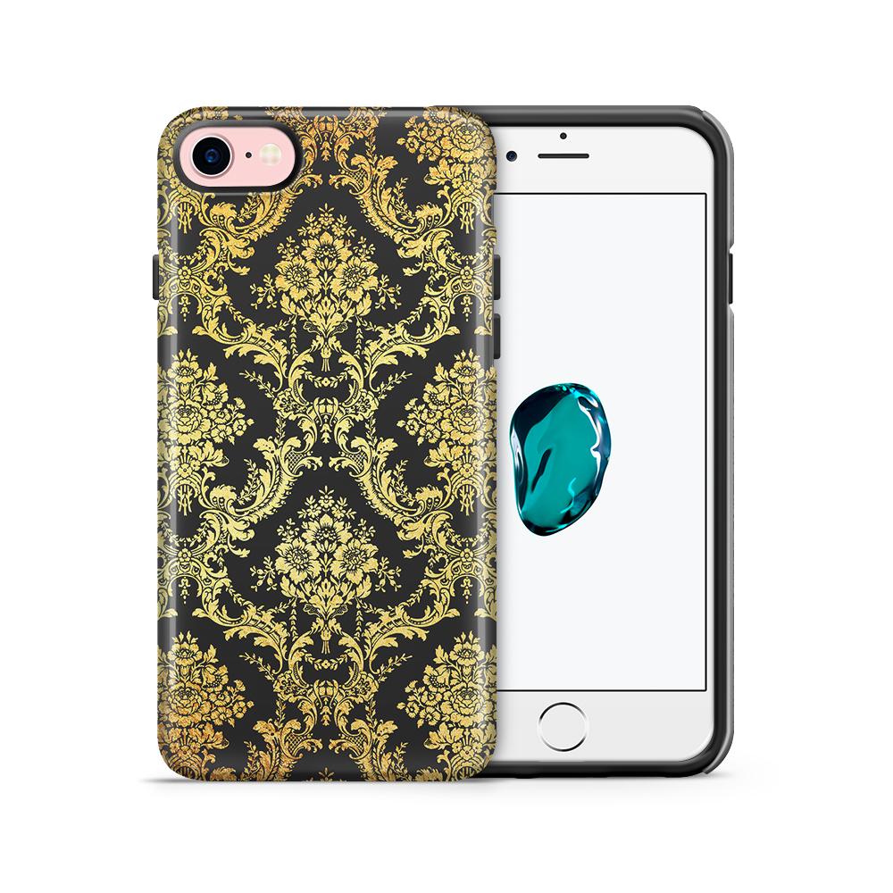 Tough mobilskal till Apple iPhone 7/8 - Damask - Guld/Svart