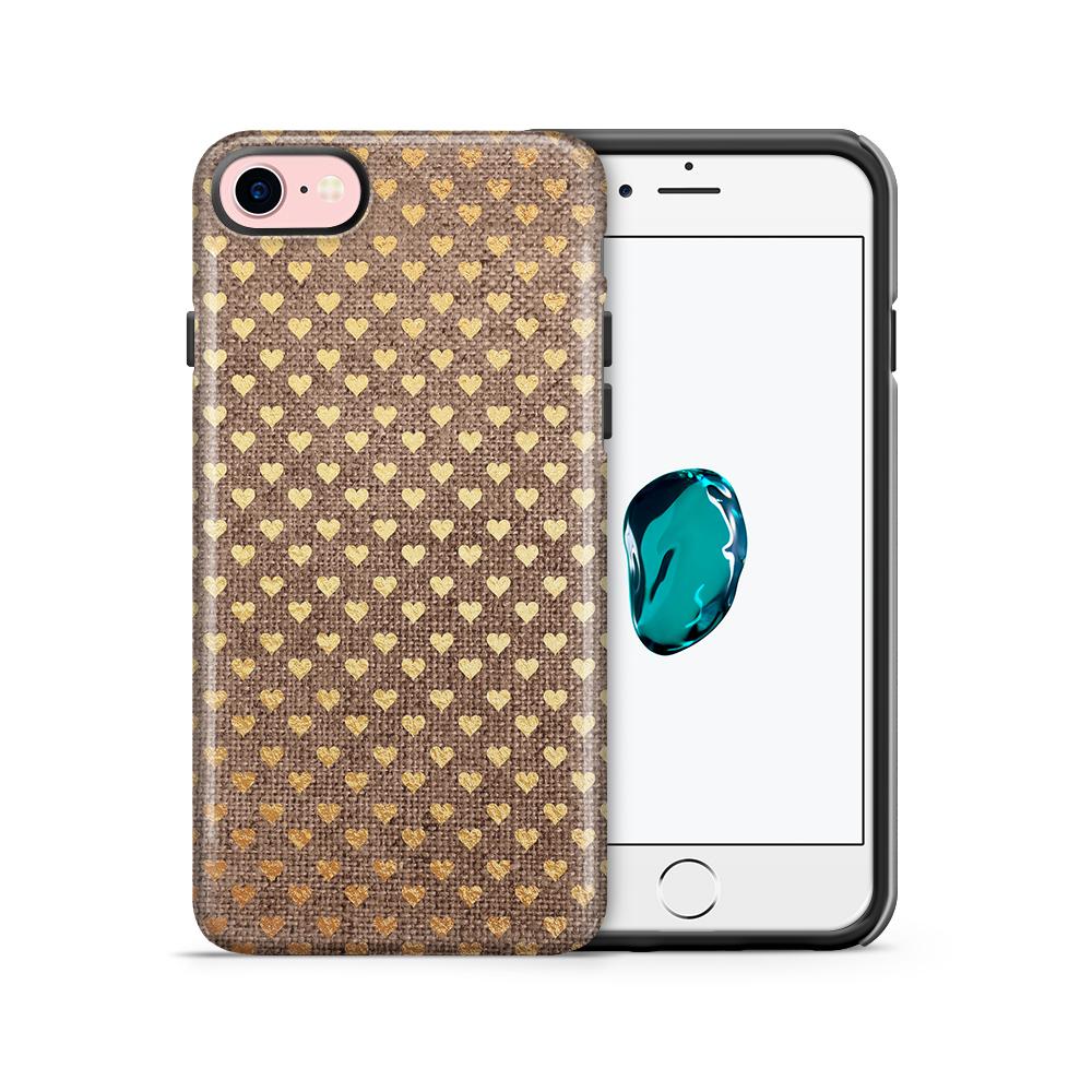 Tough mobilskal till Apple iPhone 7/8 - Canvas Hjärtan - Guld/Brun